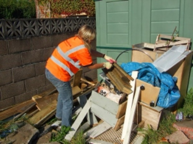 sarah removing shed waste